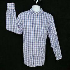 Banana Republic Dress Shirt Mens  XL Purple White Plaid Cotton Non Iron Slim Fit