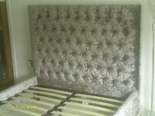 BED FRAME.KING SIZE. BRUSHED SILVER. LUXURY VELOUR
