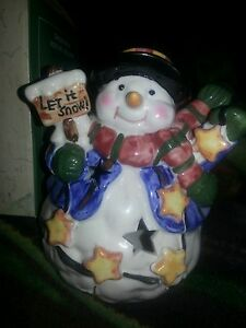 """Snowman Votive Candle Holder Christmas Holiday Let It Snow 4"""" x 4.5"""""""