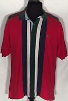 Tommy Hilfiger Logo Vertical Striped Size Large L Red Short Sleeve Polo Shirt