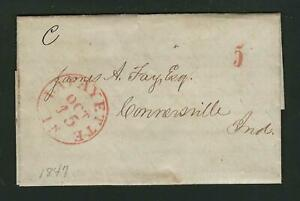 Lafayette Indiana 1847 stampless to Connersville re legal matter, red handstamp