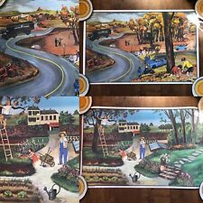 More details for oge hachette french double sided poster mid century  autumn road + garden