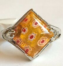 Silver Millefiori Cocktail Ring Plated Murano Style Glass Flowers Size 7 Yellow