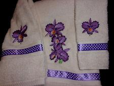 PURPLE IRIS (emb.) TOWEL SET