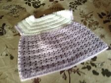 A nw hand crochet baby girl dress lilac & white dk yarn newborn