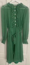 LK Bennett Honor Green Spot Sheer Belted Dress Size 10 NEW RRP £250