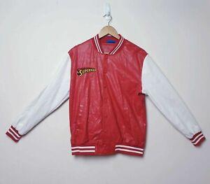 Superman DC Mens Size L Large Red White Vegan Leather Jacket Coat