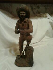 Vtg Hand Carved Wood Folk Art Sculpture LATINO MAN w AXE & Rolling Cigarette