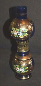 Vtg MINIATURE Lefton OIL LAMP Gold ENCRUSTED FLOWERS Cobalt Blue lot r