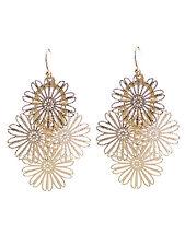 Flower Gold Tone Drop Dangle Fish Hook Earrings Women Fashion Jewelry