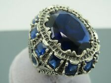 Turkish Handmade Jewelry 925 Sterling Silver Sapphire Stone Men Ring Sz 10