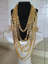 Lifetime Guarantee 10mm Various Sizes 18K Yellow Gold Plated Necklace Curb Chain
