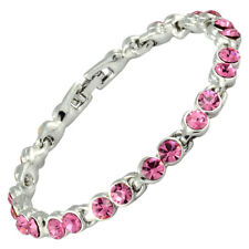 Rhinestone Crystal Zirconia Pink Sapphire Tennis Bracelet (Extended Clasp)