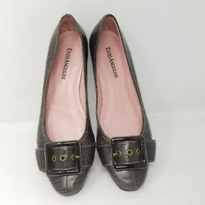 Enzo Angiolini shoes womens loafers brown size 6.5 buckle low heel slides animal