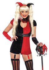 Sexy Women's Goblin Costume Black Red Wild Card Girl Pixie Sprite Harlequin XS