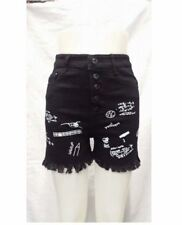 HIGH WAIST SHORT BLACK PRINTED (SIZE 25)
