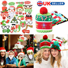 Kids Adults LED Light Christmas Santa Beanie Hat Photo Booth Props Set Party UK