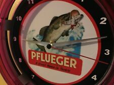 Pflueger Fishing Tackle Lures Bait Shop Store Man Cave Neon Wall Clock Sign