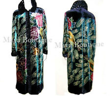 Opera Coat Duster Wearable Art Silk Velvet Peacock Black Multi Lined 1X Maya