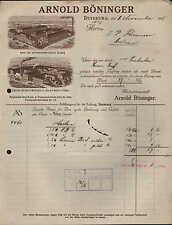 DUISBURG, Rechnung 1915, Rauch-, Kau- u. Schnupf-Tabak-Fabrik Arnold Böninger