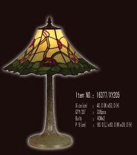 Tiffany Lampe Blüten Blum rosa, rot, bordeau, sechseckig, Blätter grün, neu T66L
