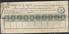 Belgium 1884 10c in 2 strips of 5 on Bewaargeving Form Berchem
