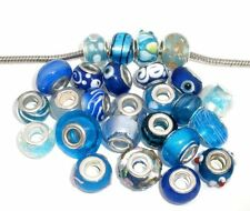 "Ten Pack of Assorted ""Blue Glass Lampwork"" Murano Beads"
