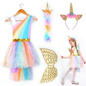 Mädchen Halloween Einhorn Kleid Cosplay Kostüm Stirnband Kinder Party Kostüm DE