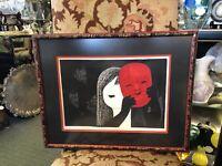 Vintage Kaoru Kawano Mid Century Wood Block Print Girl with a Red Mask 1950s