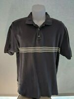 Gap Pique Polo Shirt Men Size Medium Blue Striped Short Sleeve Shirt