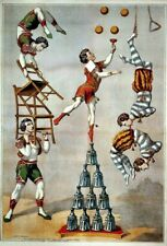 A4 laminated - Vintage Circus Carnival  Acrobats 1870 old  posters
