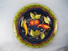 Laurie Gates Ware Salad Plate Vegetables Polka Dotted Rim Blue Center (O3) AS IS