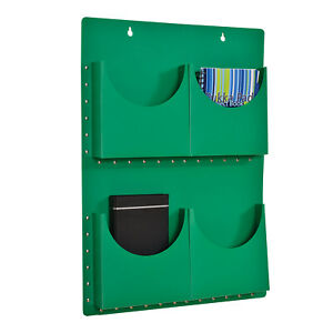 Classroom Office A4 Filapocket x 4 pockets Wall Hanging Storage - Green