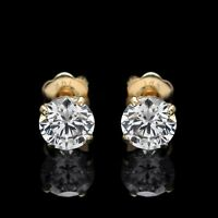 2.00CT ROUND CUT CREATED DIAMOND EARRINGS 14K SOLID YELLOW GOLD STUDS SCREW-BACK
