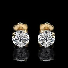 14K Solid Yellow Gold Studs Screw-Back 2.00Ct Round Cut Created Diamond Earrings