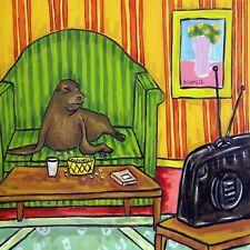 Sea lion watching television animal art tile coaster