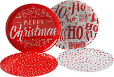 Red Merry Christmas 4 Piece Melamine Plastic 20cm Side Plate Set