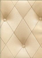 Faux 3-D Cream Button Tufted Diamond Patterned Wallpaper LL29572