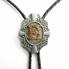 "Initial Letter ""E"" Western Cowboy Rodeo Bolo Tie"