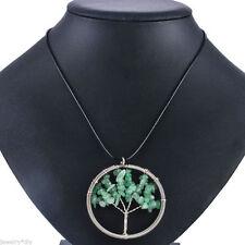 BIG BEAUTIFUL SPRING GREEN ADVENTURINE TREE OF LIFE WIREWRAP BLACK CORD NECKLACE