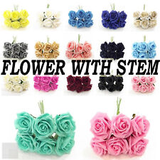 Large 6 cm Artificial Foam Roses With Stem Colored Weddings Party Decor UK