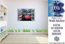 Adesivo parete camera da letto per bambini Disney Cars 2 3d effetto Finestra Adesivo parete per bambini.