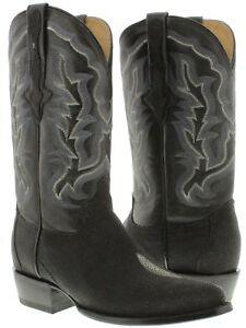 mens black real stingray skin diamond stone leather western cowboy boots round