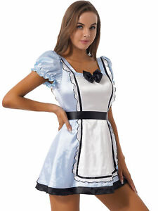 Women's Puff Sleeve Frilly Satin Dress Maid Costume Halloween Role Play Outfits