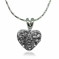 18k White Gold Plated Brilliant Charm Pendant Necklace With Swarovski Crystals