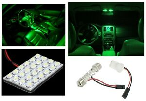 1x T10 Festoon 24-SMD Ultra Green LED Panel Interior Dome Map Replacement Light