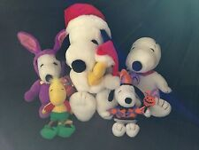 Lot Of 4 Snoopy Dog & Woodstock Bird Peanuts Hallmark Applause Stuffed Plush