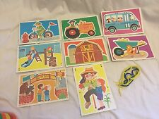 Vintage 1970s Child Lace-Up Cards Cardboard Sewing Picture Cards
