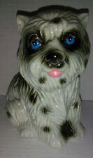 Vintage Ceramic Sheepdog(?) Black White Furry Blue Eyed Dog Figurine Brazil 4160