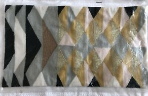 West Elm NWT Geometric Pillow Cover: Pink, Black, Gold & Gray
